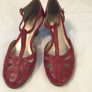 Naturalized  Red T-Strap Wedge Heels 6M